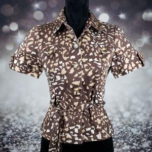 Carol Little Size 6P Animal Print Belted Shirt